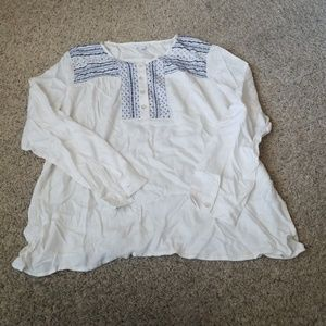 J.Jill large white with blue blouse